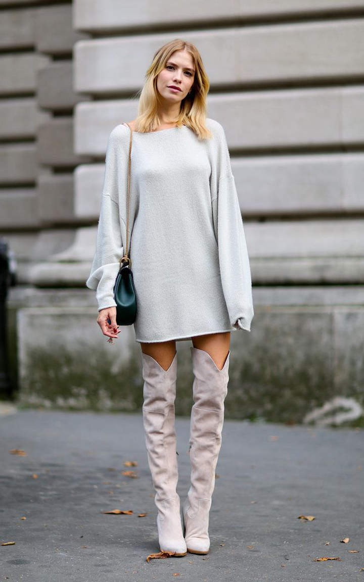 Dress and over the knee boots (13 outfits you must see)