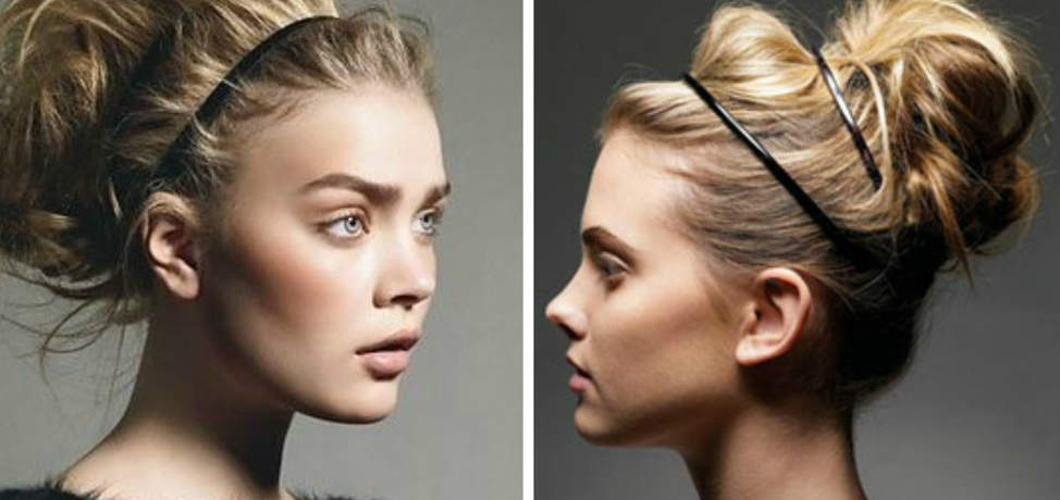 Modern bun with headband hairstyles that you can wear at work